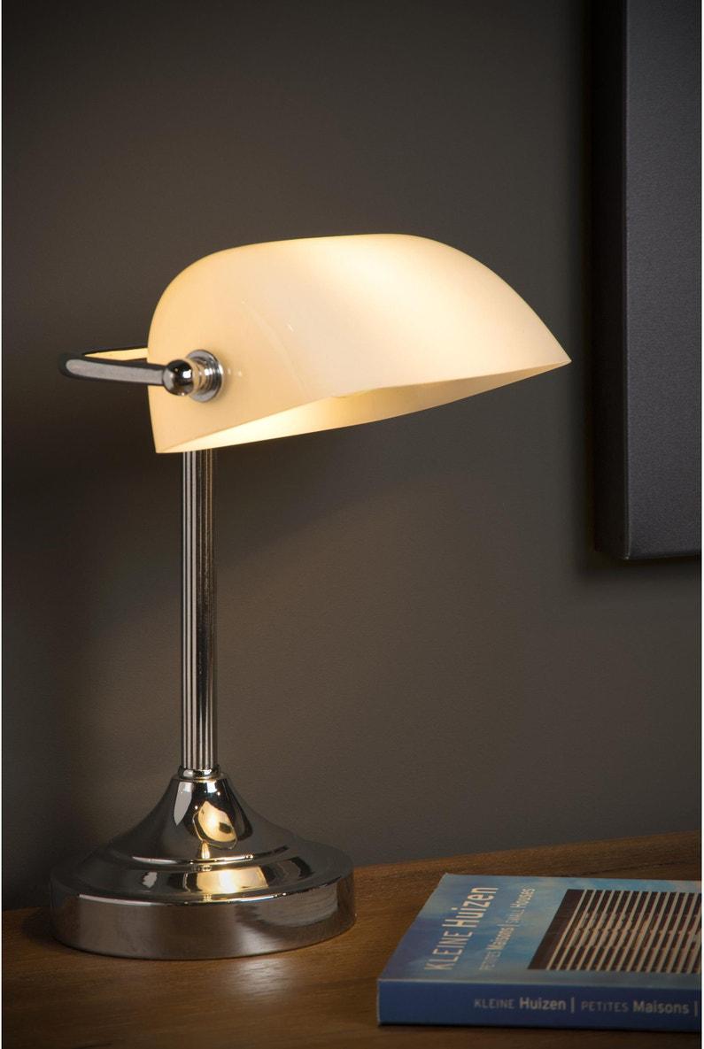 Lampe de bureau, classique, métal blanc, LUCIDE BANKER
