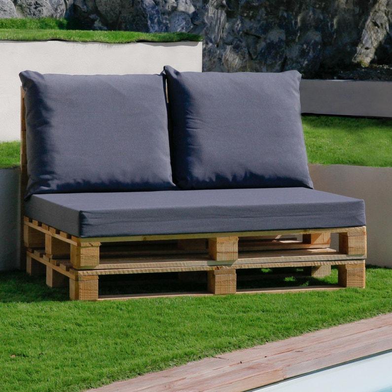 Lot de 3 coussins pour mobilier palette, gris anthracite l.80 x H.15 cm