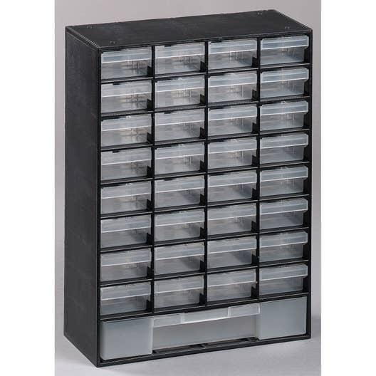 casier vis plastique 33 tiroirs h 43 5 x l 30 3 x p. Black Bedroom Furniture Sets. Home Design Ideas