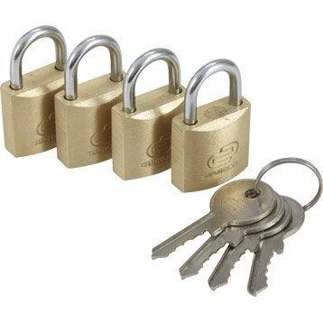 Lot de 4 cadenas à clé STANDERS laiton, l.40 mm