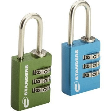Lot de 2 cadenas à combinaison STANDERS aluminium, l.20 mm