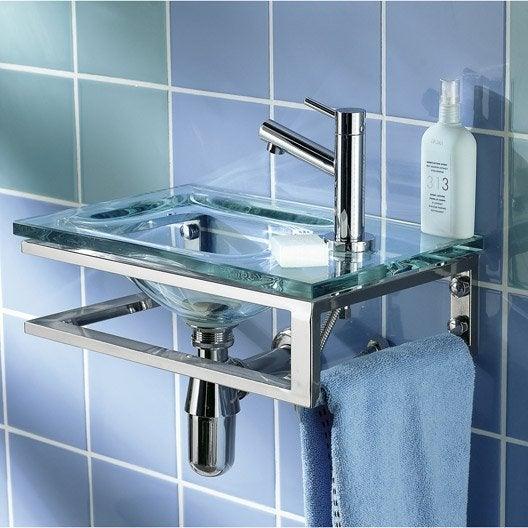 Lave mains verre transparent x cm toscane - Lave main leroy merlin meuble ...