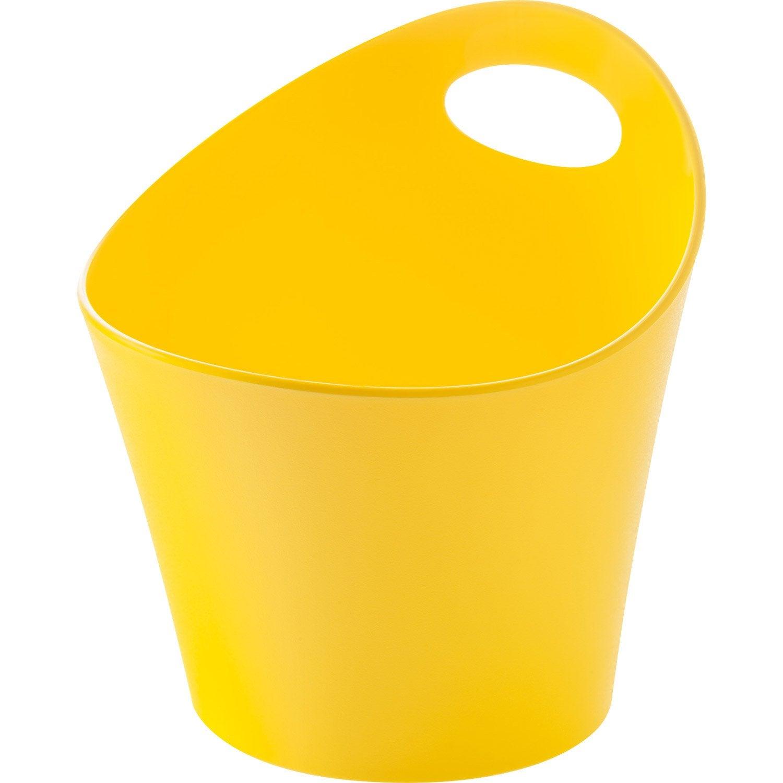 Pot range-couverts plastique jaune anis n°4 L.12 x H.13 cm