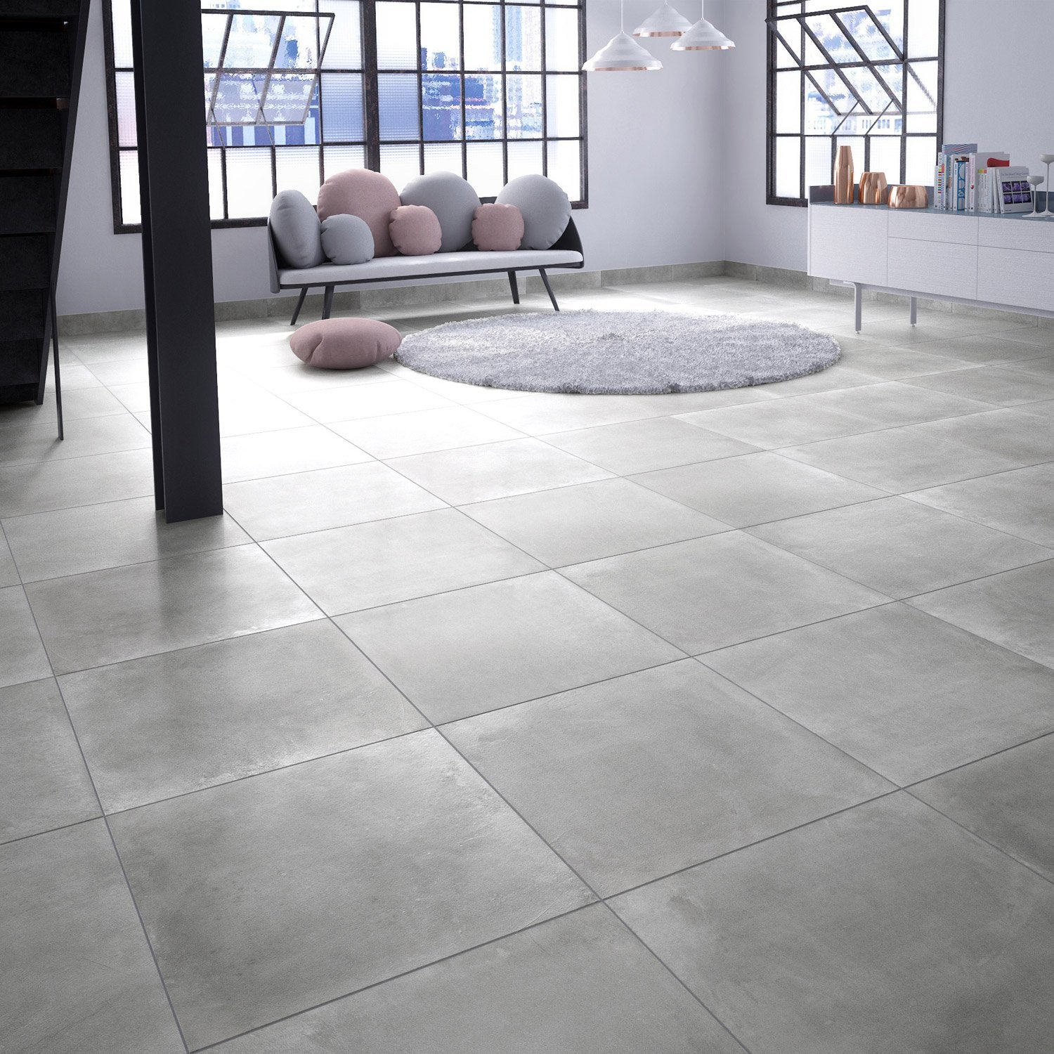 Awesome carrelage sol 60x60 gris photos for Carrelage orange sol