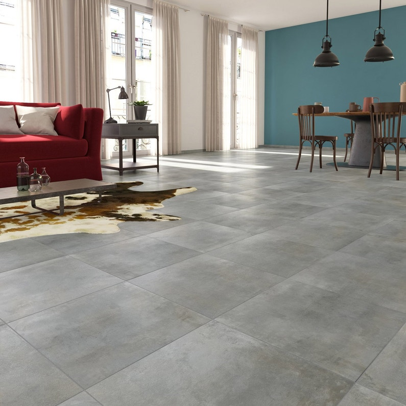 Carrelage sol et mur forte béton gris clair Laiton l.30 x L.60.4 cm ...