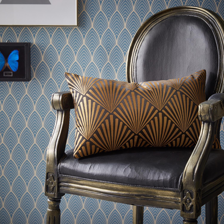 Coussin Tilda, noir et dore l.50 x H.30 cm