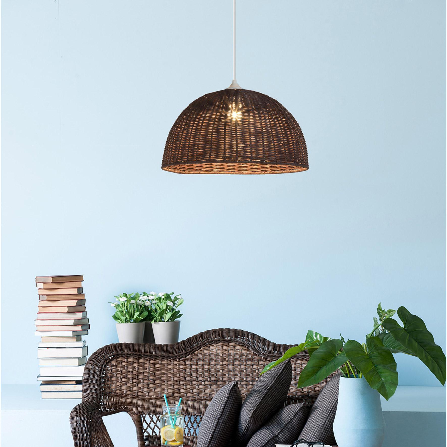 Suspension, classique rotin marron LUSSIOL Jacinthe 1 lumière(s) D.40 cm