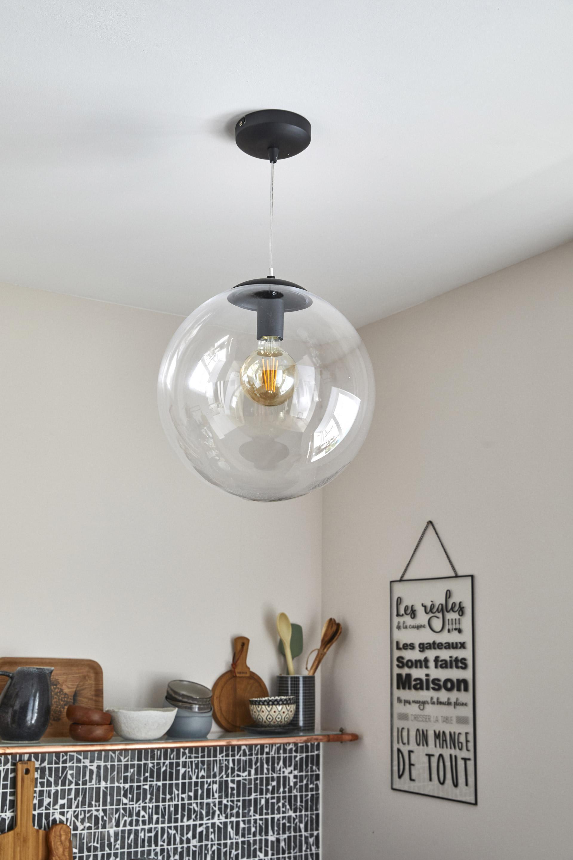 Suspension, design verre incolore / transparent LUSSIOL Globus 1 lumière(s) D.34