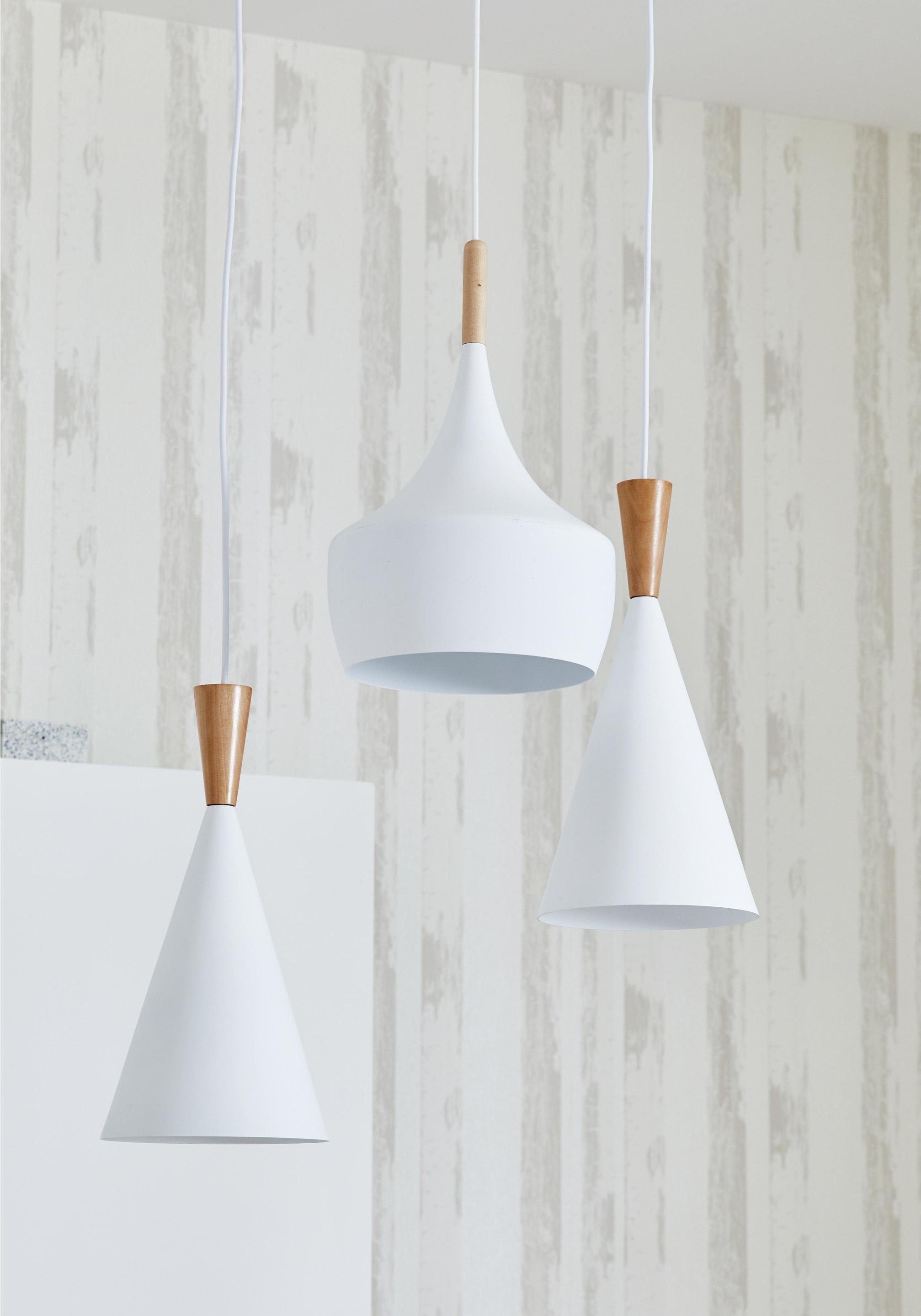 Suspension, scandinave métal blanc LUSSIOL Olga 1 lumière(s) D.19 cm