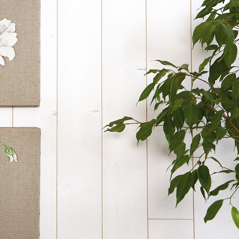 Lambris bois épicéa blanc brossé, L.205 x l.10.5 cm, Ep.9 mm