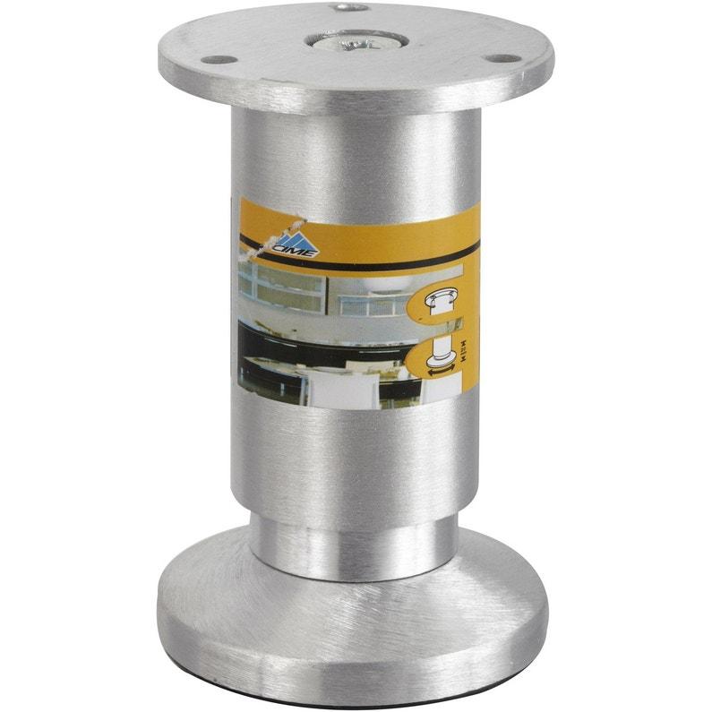 Pied De Meuble Cylindrique Réglable Aluminium Brossé Gris De 10 à 12 Cm