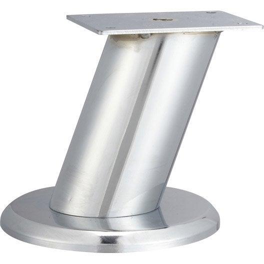 Pied de meuble design fixe acier chromé gris, 10 cm | Leroy Merlin