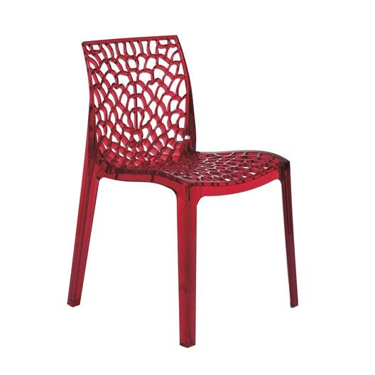 Chaise de jardin en polycarbonate grafik rouge leroy merlin - Chaise rouge transparente ...