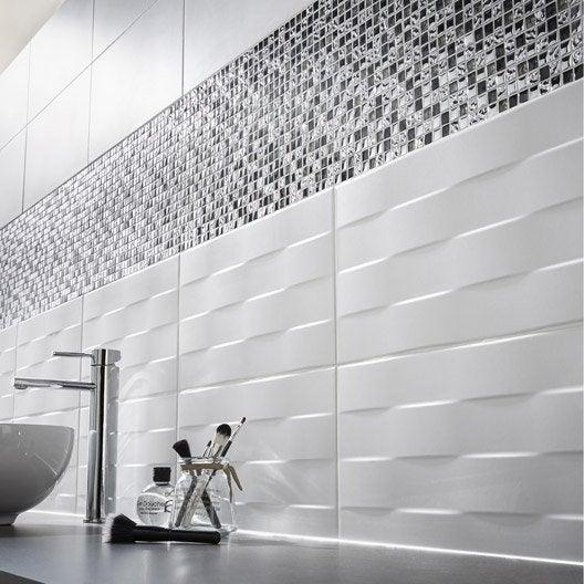 Carrelage mur blanc d cor hawai tress x cm for Carrelage wc leroy merlin