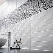 Carrelage mur blanc, Décor hawai tressé l.25 x L.50 cm