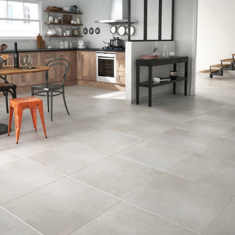 Carrelage sol blanc aspect carreau de ciment Tonnerre l.59.7 x L.59.7 cm