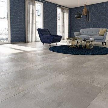 Carrelage sol et mur gris clair effet béton Satinon l.60 x L.60 cm