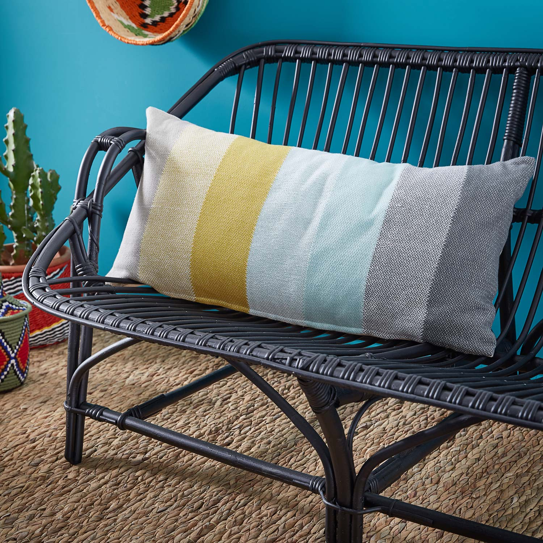 Coussin Kami INSPIRE, bleu / jaune / gris l.70 x H.35 cm