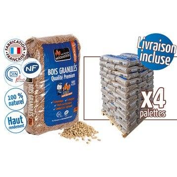 Granulés de bois WOODSTOCK 4 palettes, 312 sacs de 15 kg, 4680 kg