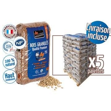 Granulés de bois WOODSTOCK 5 palettes, 390 sacs de 15 kg, 5850 kg