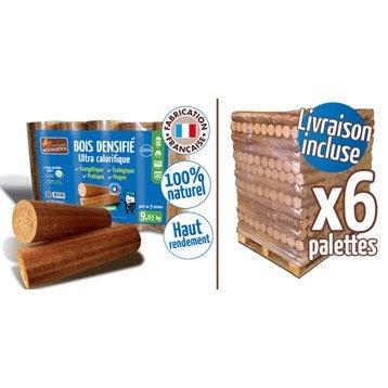 Bûches calorifiques WOODSTOCK 6 palettes, 624 sacs de 5 bûches