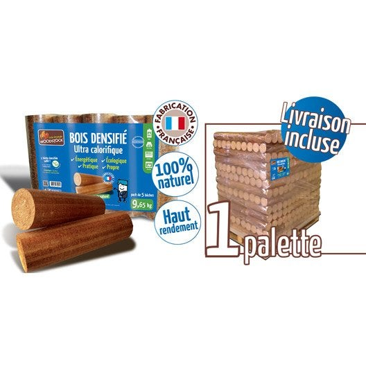 bûches calorifiques woodstock 1 palette, 104 sacs de 5 bûches