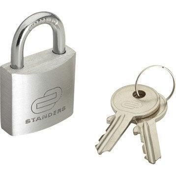 Cadenas à clé STANDERS aluminium, l.30 mm