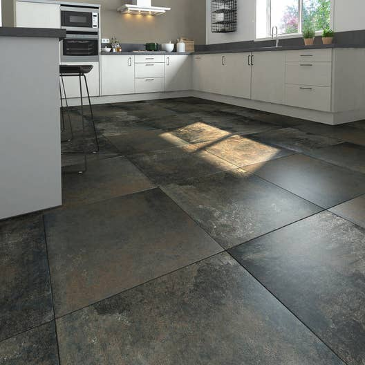 Carrelage sol et mur noir m tallis effet b ton preston l - Carrelage effet beton ...