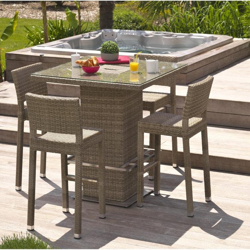 Salon de jardin Panama résine tressée marron, 4 personnes   Leroy Merlin 330bcc2ddf48