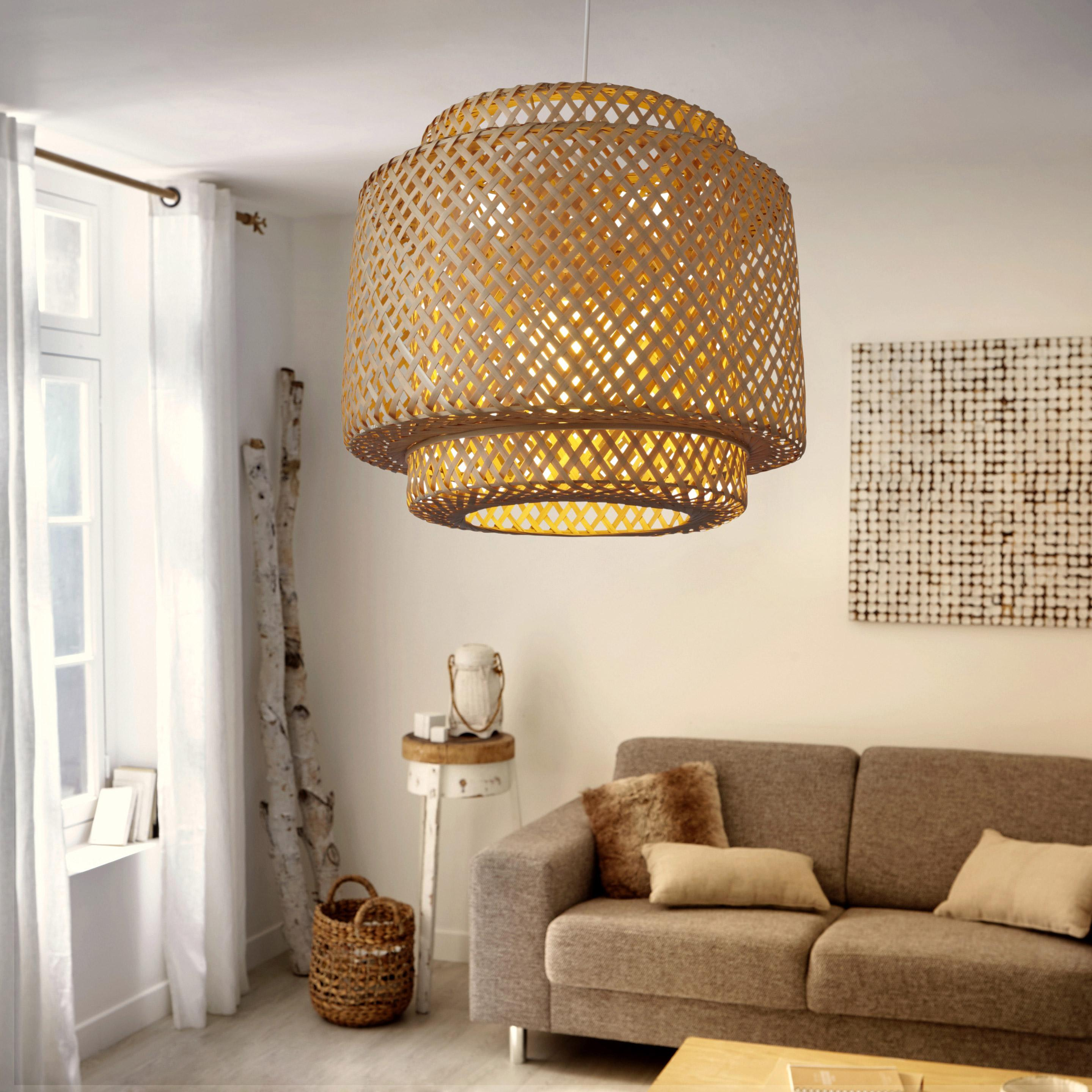 Suspension, E27 éthnique Doramu  bambou naturel 1 x 60 W LUSSIOL