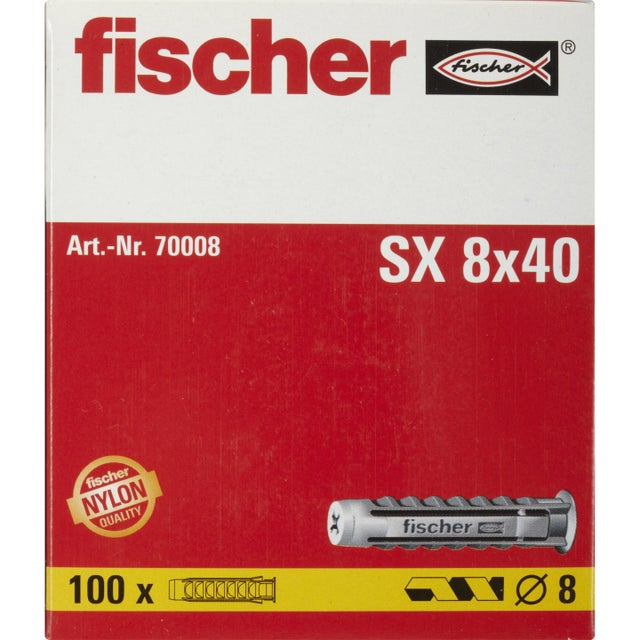 Lot De 100 Chevilles à Expansion Sx Fischer Diam8 X L40 Mm