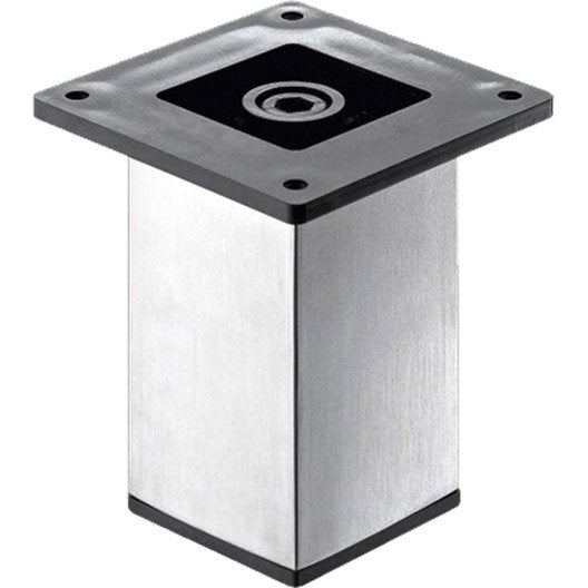 Pied de meuble carré fixe acier brossé gris, 10 cm | Leroy Merlin