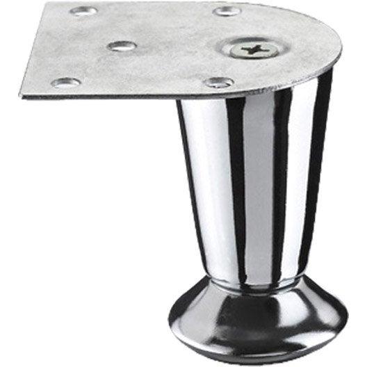 Pied de meuble cylindrique fixe acier chromé gris, 7 cm | Leroy Merlin