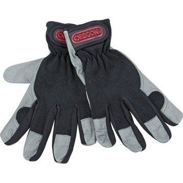 Gants de jardinage en cuir OREGON noir et gris, taille 8 / M