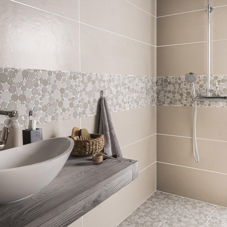 Carrelage Sol Et Mur Greige Austin L X L Cm Leroy Merlin - Peinture pour carrelage sol salle de bain leroy merlin