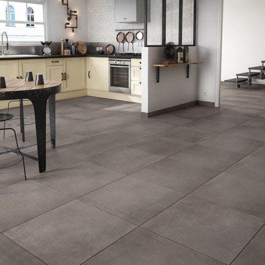 Carrelage sol et mur marron effet ciment Filière l.60 x L.60 cm ...