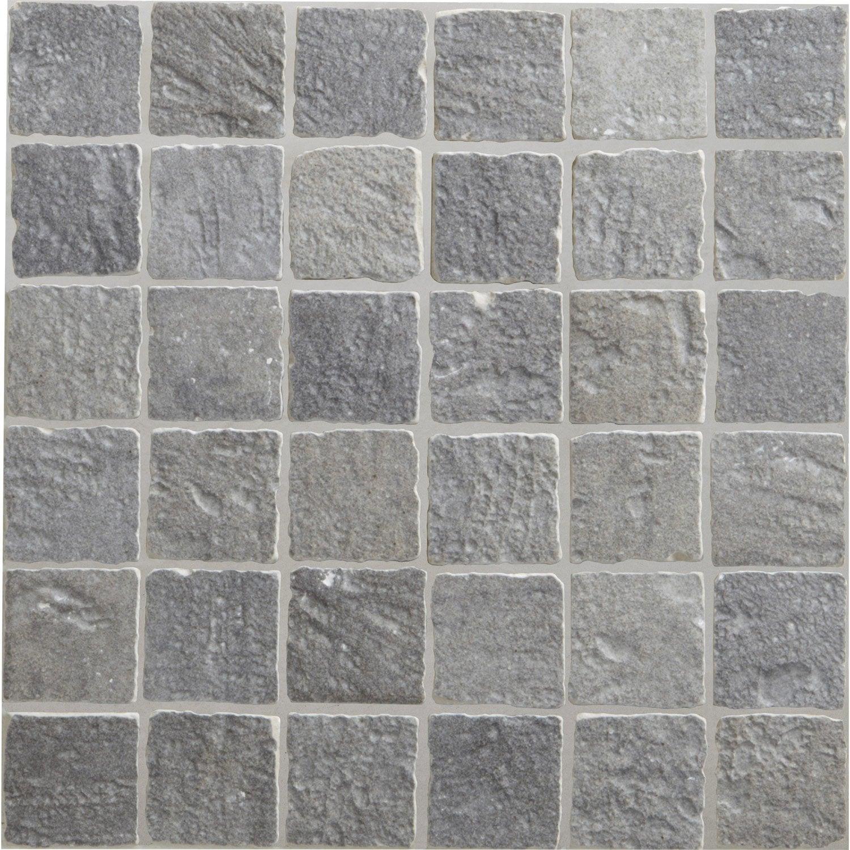 Mosa que sol et mur vestige gris 5 x 5 cm leroy merlin for Carrelage mosaique gris