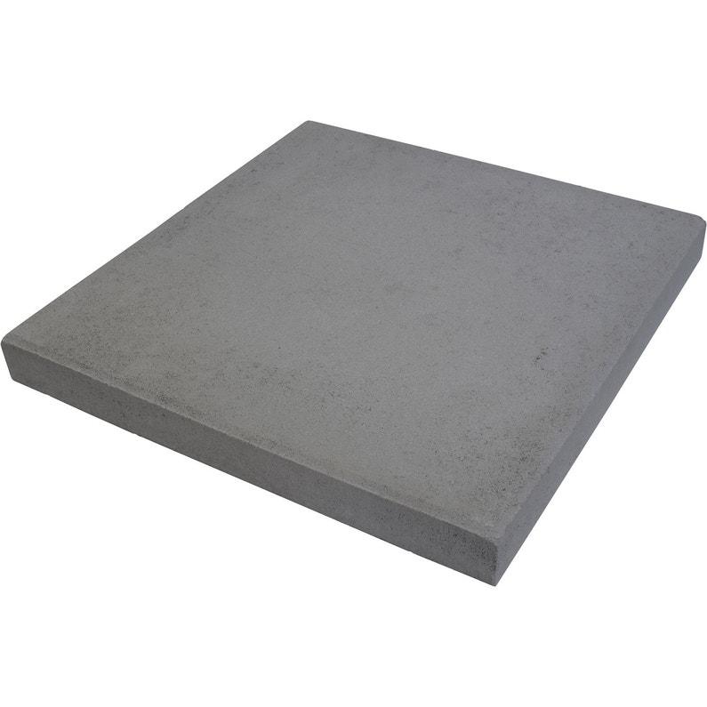 Dalle béton Provençale, gris foncé, L.50 x l.50 cm x Ep.50 mm
