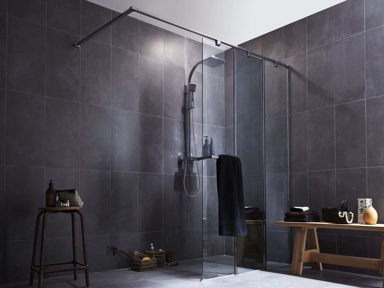 Salle de bains contemporaine grise | Leroy Merlin