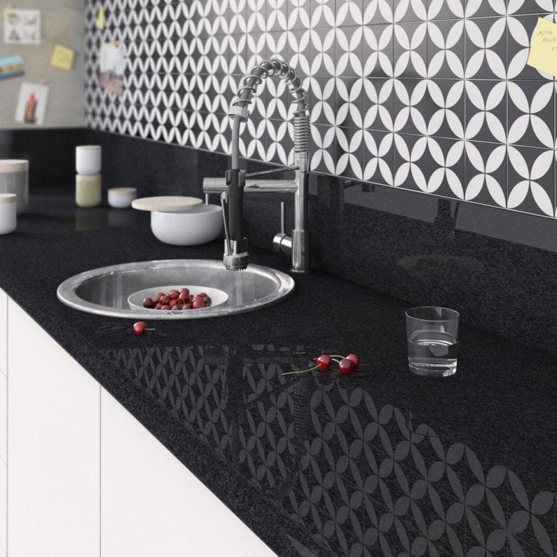 Plan De Travail Stratifie Effet Marbre Noir Brillant L 300 X P 65