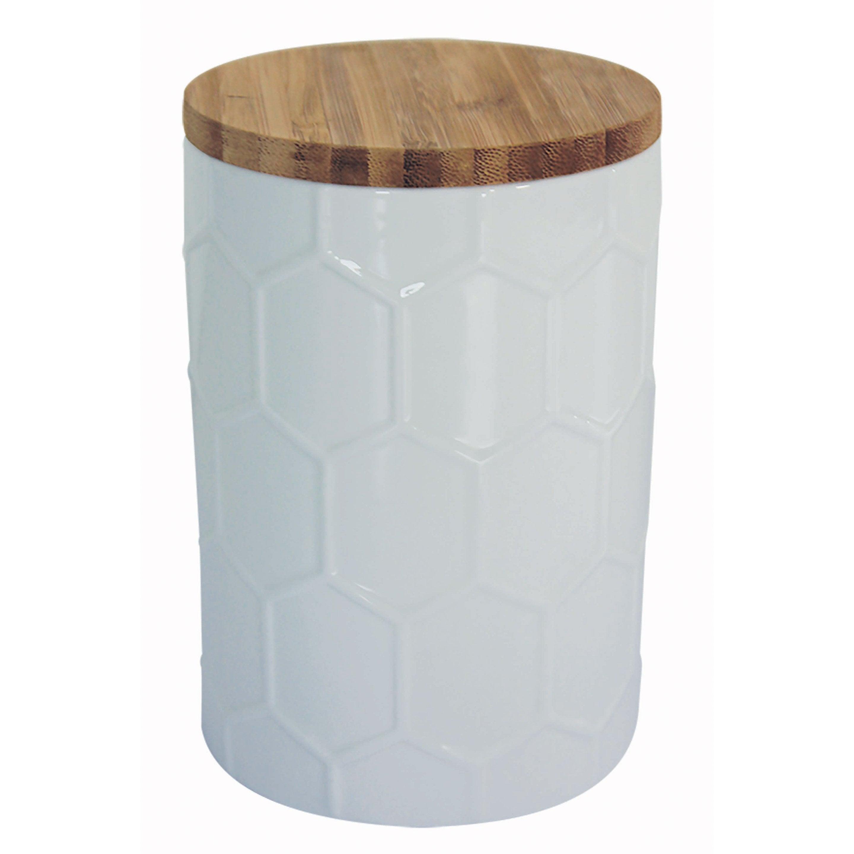 Boîte de rangement taille unique céramique blanc H.14.5 x l.10 x P.10 cm