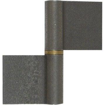 Paumelle de grille acier brut, H.100 x L.90 x P.16 mm