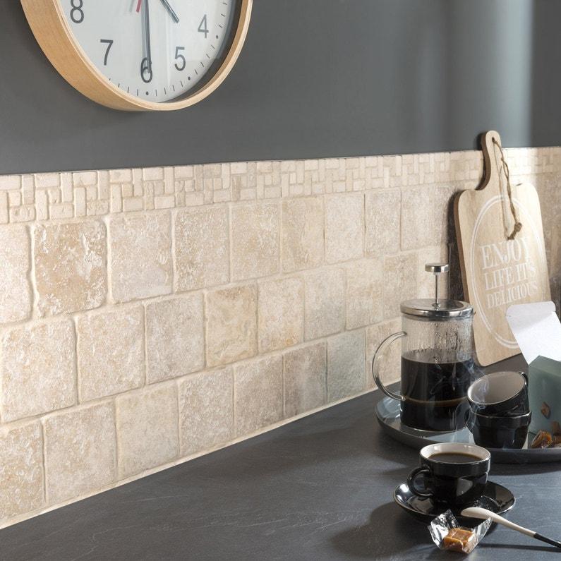 Travertin mur et sol pierre ivoire mat l.10 x L.10 cm   Leroy Merlin