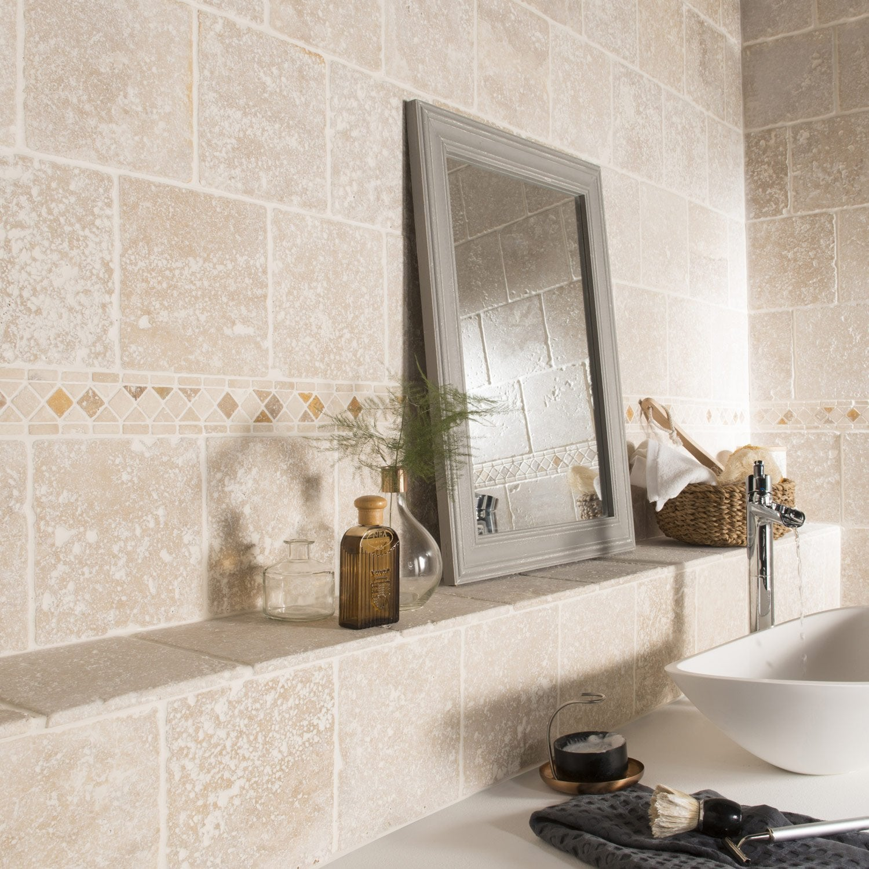 pierre naturelle sol et mur ivoire travertin x cm leroy merlin. Black Bedroom Furniture Sets. Home Design Ideas