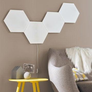 Extension panneau LED décoratif Puzzle, 1 x 9 W, plastique blanc, INSPIRE