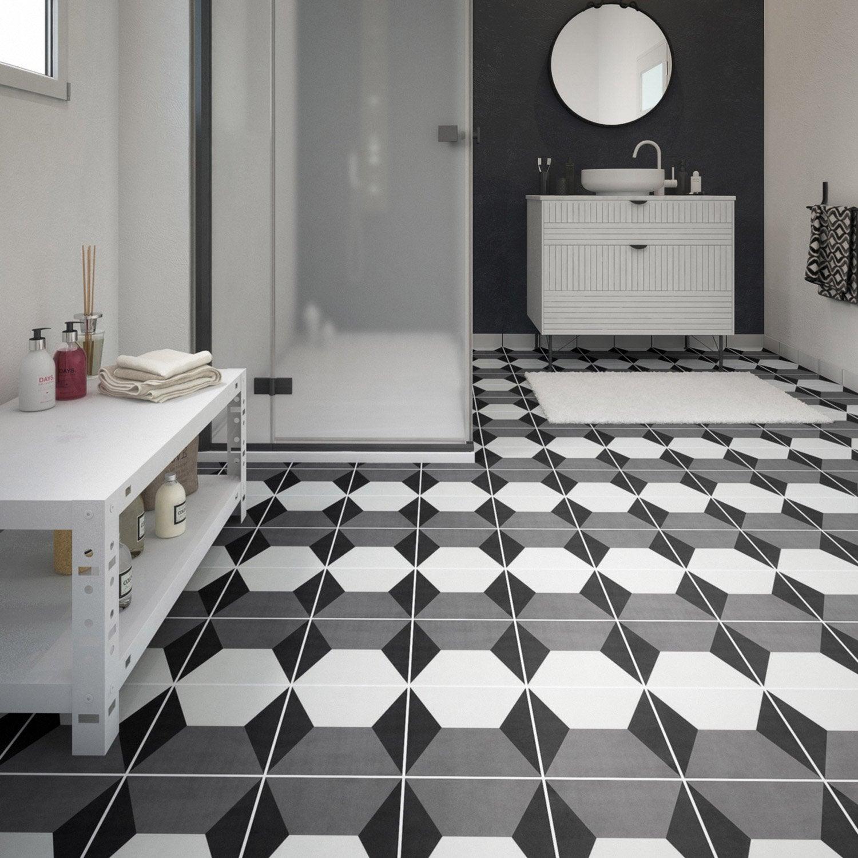 carrelage sol et mur noir blanc effet ciment d ment x cm leroy merlin. Black Bedroom Furniture Sets. Home Design Ideas