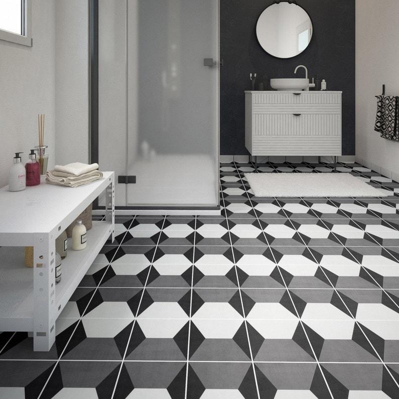 Carrelage Sol Et Mur Noir Blanc Effet Ciment Dément L 20 X L 20 Cm