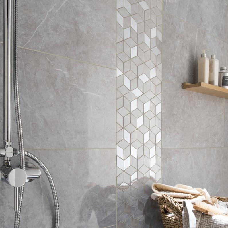mosa que mur murano hexa gris leroy merlin. Black Bedroom Furniture Sets. Home Design Ideas