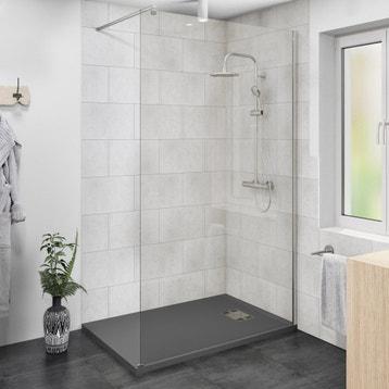 paroi de douche litalienne l120 cm verre transparent 6 mm - Cloison Verre Salle De Bain
