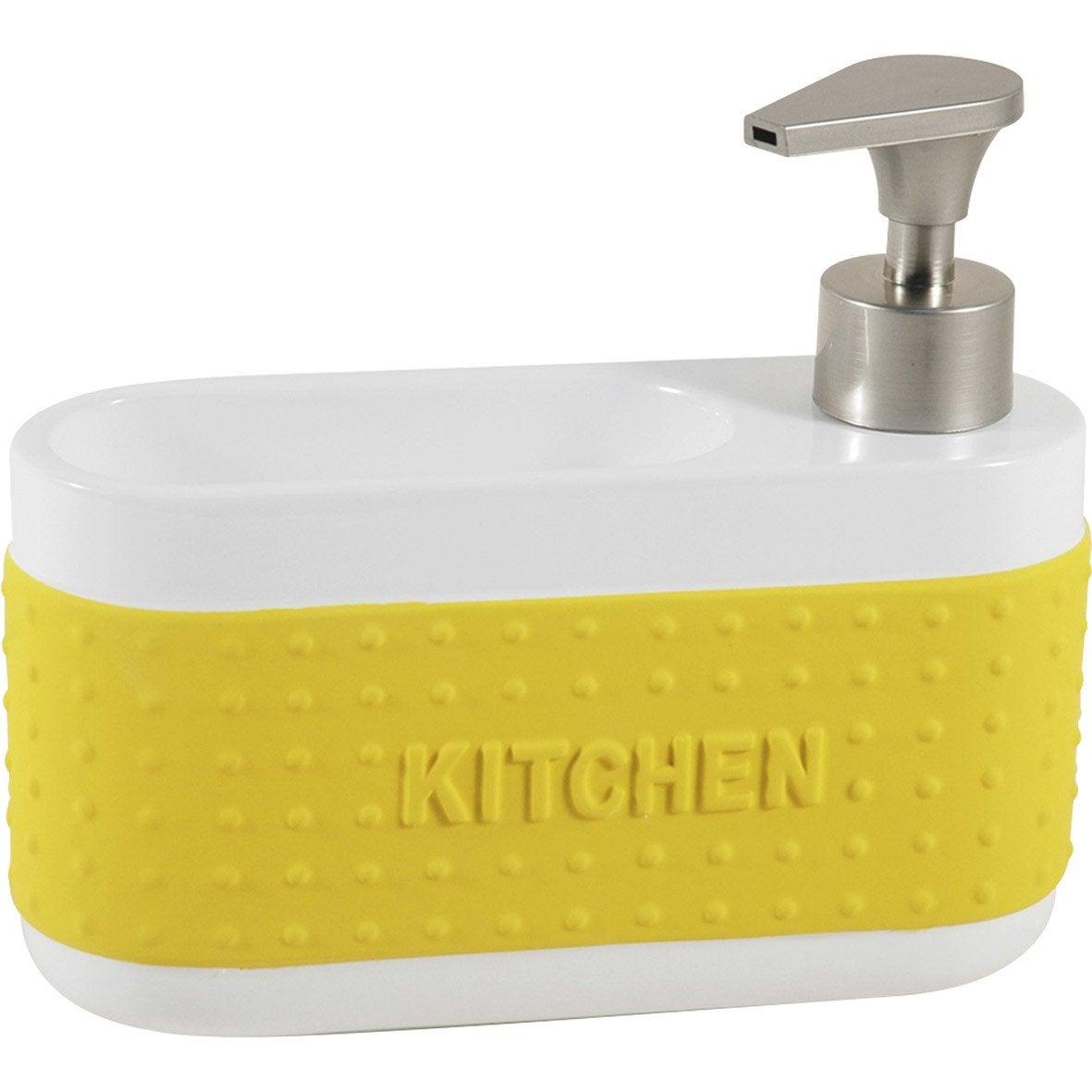 Distributeur de savon céramique avec porte-éponge jaune anis n°4